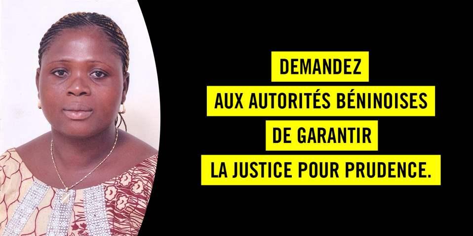 Justice pour Prudence Amoussou, tuée par balle lors des manifestations du 2 mai.